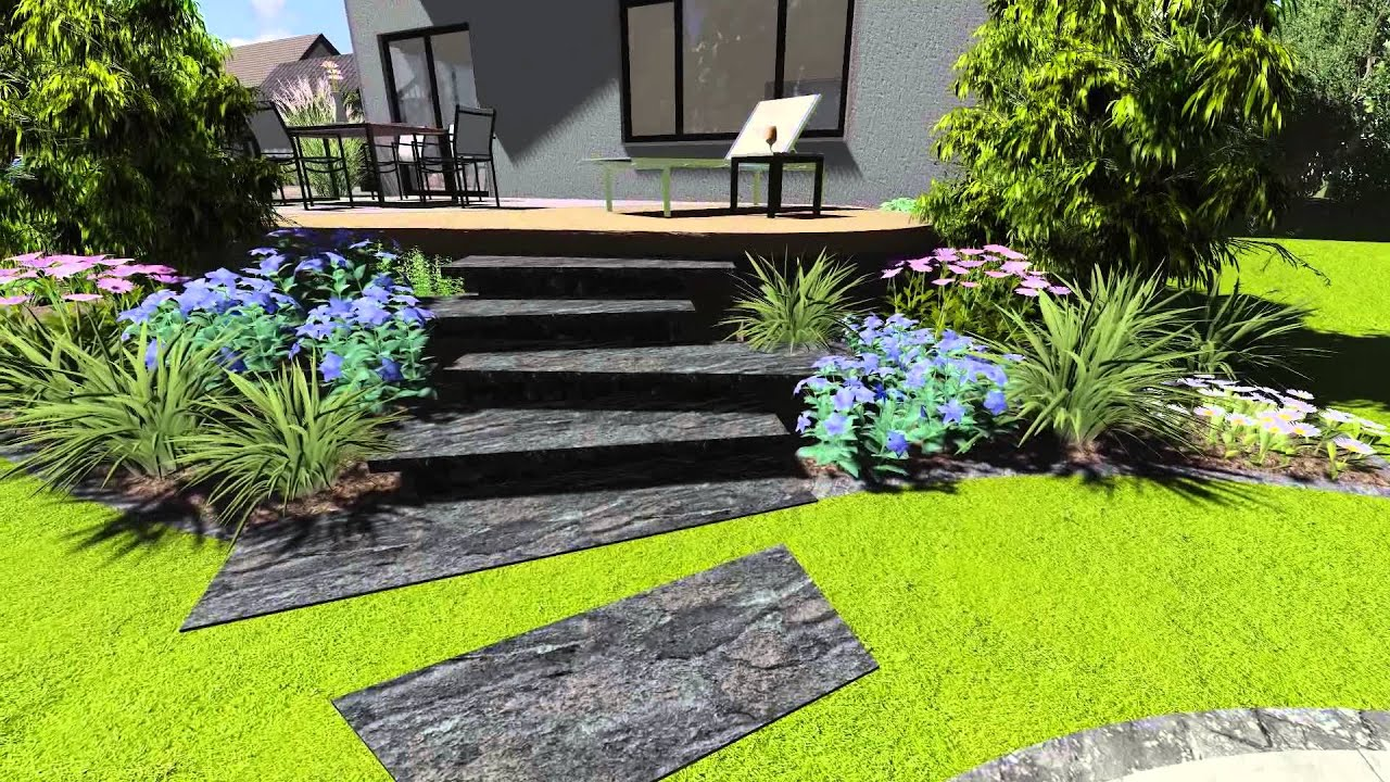 3d garten animation terrassenanlage youtube. Black Bedroom Furniture Sets. Home Design Ideas