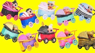 LOL Surprise Dolls Custom Stroller Store with Lils Sister Fuzzy Pets | Toy Egg Videos