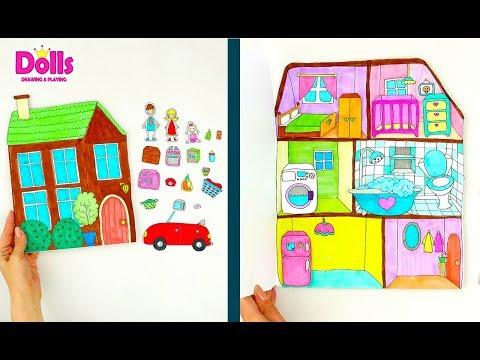 PAPER DOLLSHOUSE DIY TUTORIAL PAPERCRAFT FOR KIDS