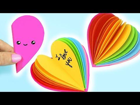 DIY MINI NOTEBOOK RAINBOW HEART SHAPE