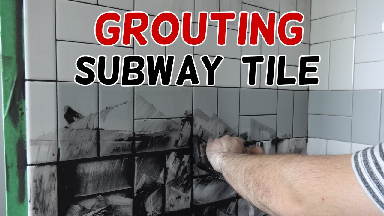 grouting our basketweave subway tile
