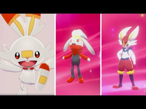 Pokémon Sword & Shield - Intro + Full Evolution Of Scorbunny