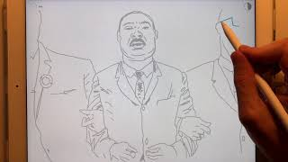 Step by Step, How to draw Dr. Martin Luther King Jr. in ShadowDraw