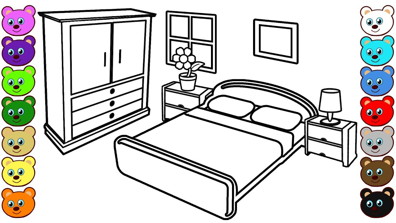 Coloring pages for bedroom - Learn Colors For Kids With Mom And Dad S Bedroom Coloring Pages For Children