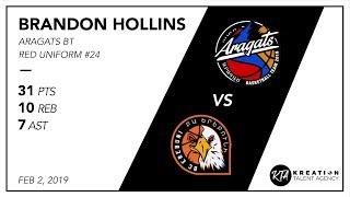 Brandon Hollins Full Game vs Erebuni Cedars -- (Red #24)