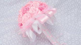 Роза для Топиарий и Свадебных Букетов./Своими руками. Видео /Ribbon Flower / DIY Kanzashi