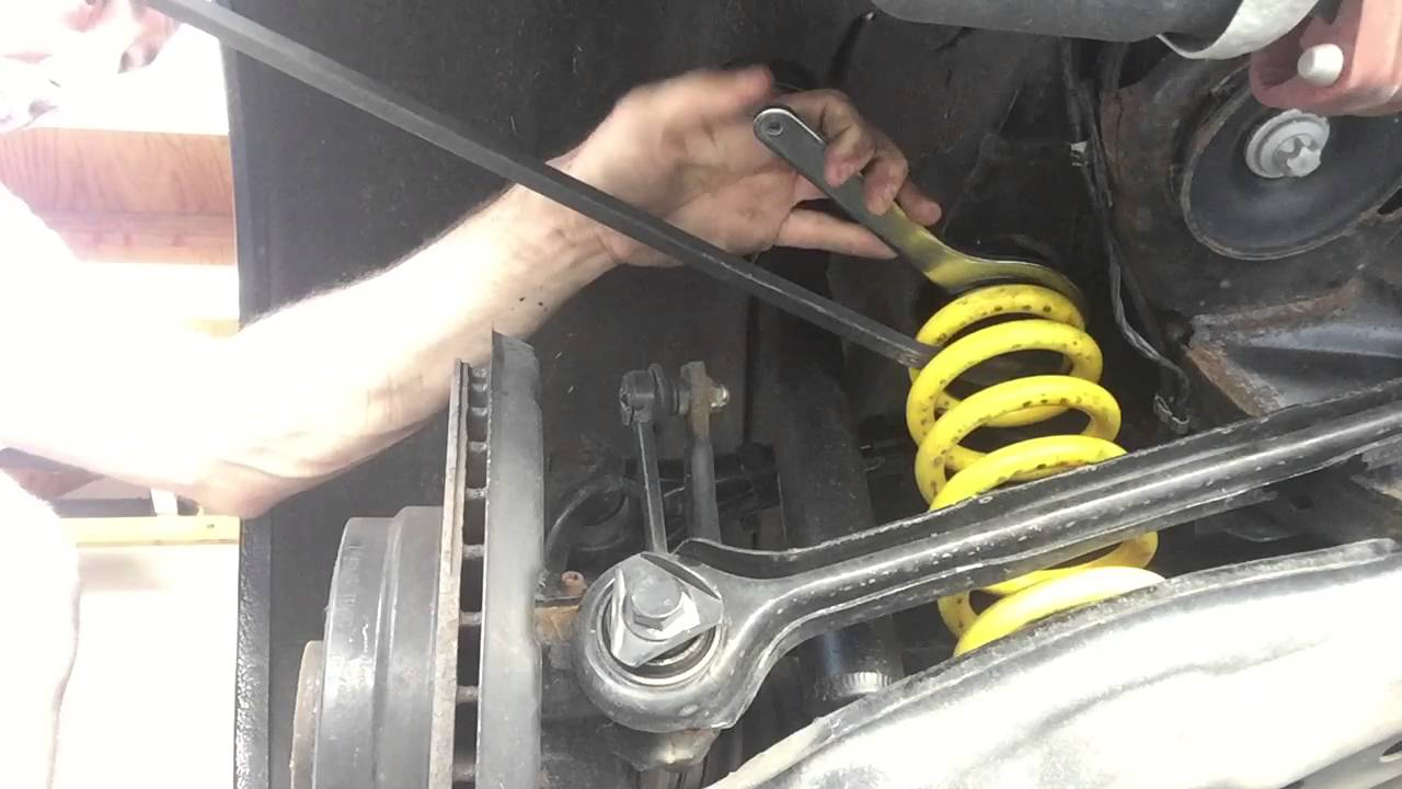 BMW e90 rear coilover height adjustment shortcut - YouTube