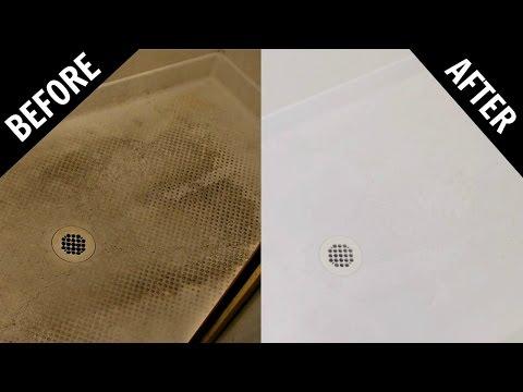 How To Clean Textured Fiberglass or Plastic Shower Floor - Baking Soda & White Vinegar