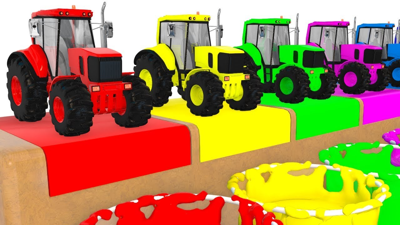 Colors With Tractors Vehicles For Kids Educational