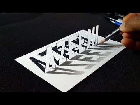 Drawing Azeemi Name 3D Art - Pencil - Request