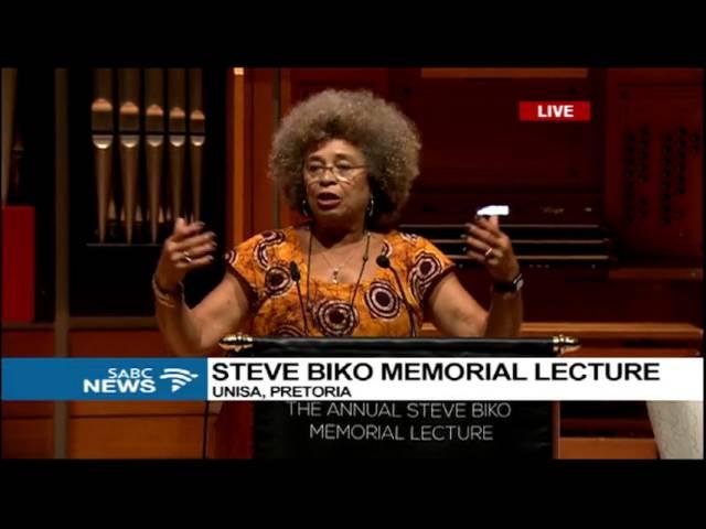 Angela Davis delivers the 17th Steve Biko Memorial Lecture in Pretoria, South Africa.