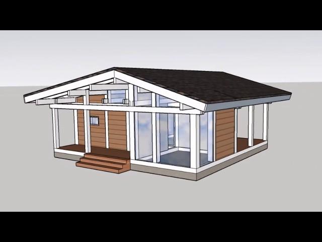 Построение модели одноэтажного фахверкового дома-бани 75 кв м в SketchUp. Выпуск # 51