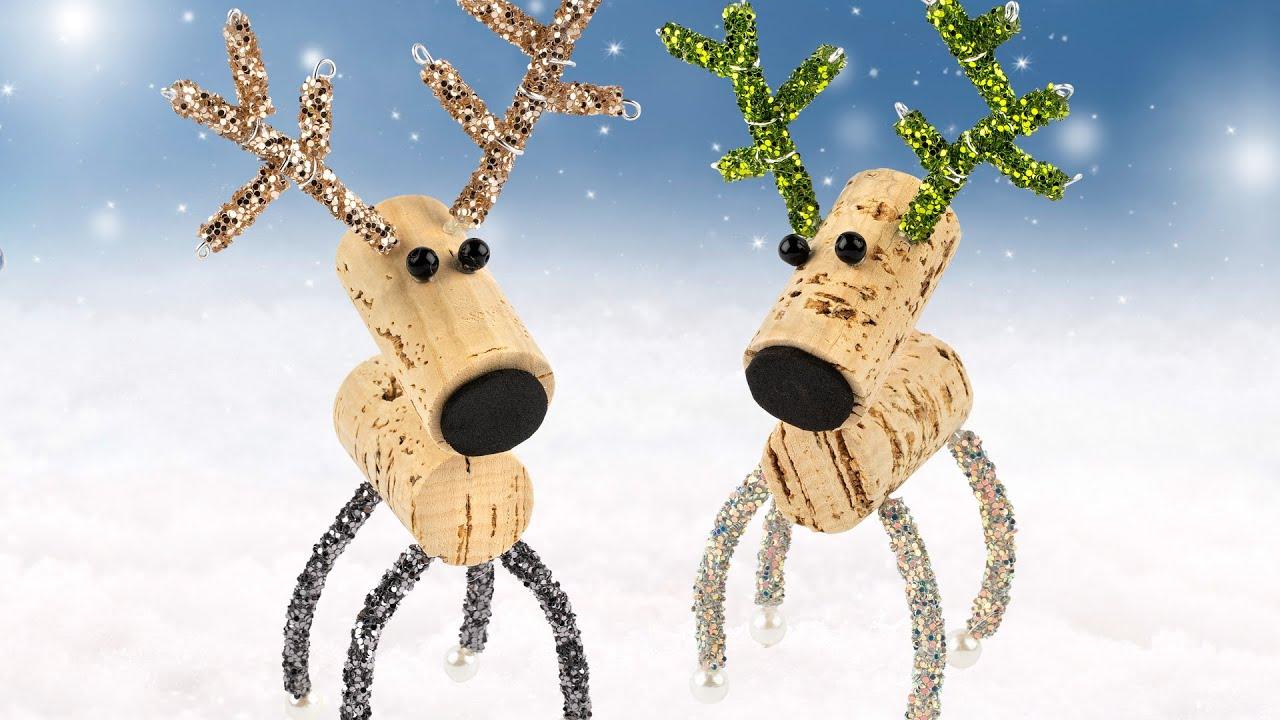Ideen Mit Herz Rentiere Aus Korken Basteln Lustige Deko Für Weihnachten Diy Cork Reindeer