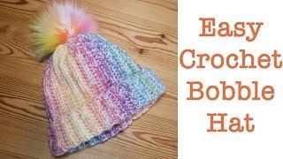 Blossom Crochet: VERY EASY BOBBLE POM POM WINTER HAT / BEANIE