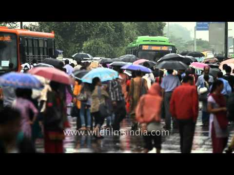 Stranded in the rain - waiting for a bus in Delhi monsoons