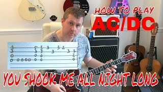 AC/DC - You Shook Me All Night Long - Guitar Lesson Tutorial - guitar tab