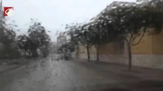بالفيديو.. برك مياه في شوارع الفيوم بسبب الأمطار