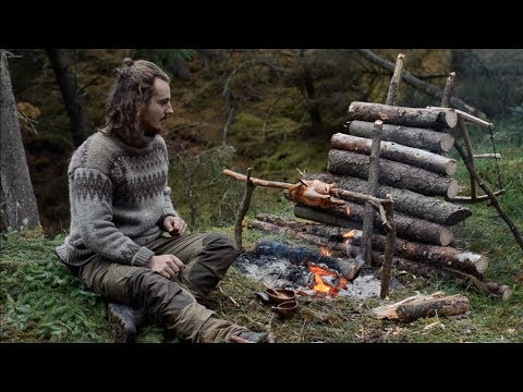 6 DAYS SOLO BUSHCRAFT - CANVAS LAVVU, BOW DRILL, SPOON CARVING, FINNISH AXE etc.