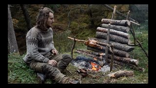 6 DAYS SOLO BUSHCRAFT - CANVAS LAVVU, BOW DRILL, SPOON CARVING, FINNISH AXE etc. thumbnail