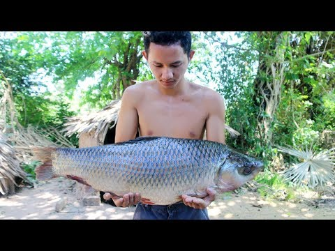 Amazing Cooking Big Fish Recipe – How to Primitive Cooking Biggest Fish Soup Recipe |Wilderness Life