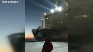 Атомный ледокол «Таймыр» режет льды Енисея, как бумагу
