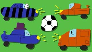 Zombey und GLP spielen Fußball mit Autos.