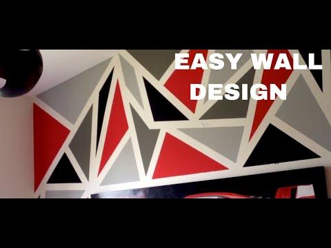 PAINTING A DIY GEOMETRIC WALL DESIGN! (EASY)