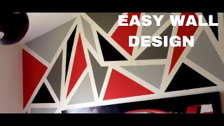 PAINTING A DIY GEOMETRIC WALL DESIGN! (EASY)