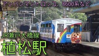 【JR瀬戸大橋線】アンパンマントロッコ列車 8600系特急しおかぜなど 植松駅発着&通過集