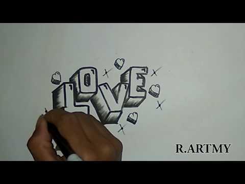 Cara Gambar Grafiti Love D Mudah