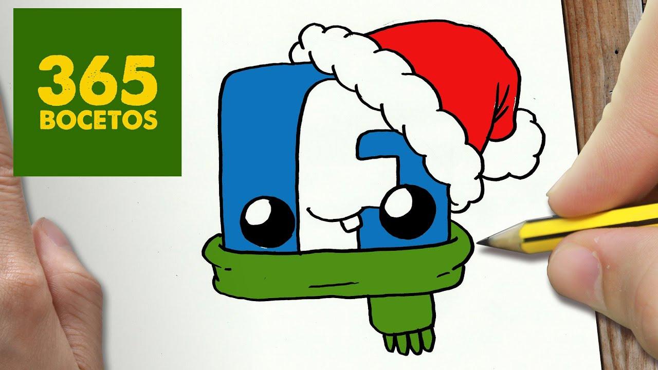 como dibujar un logo facebook para navidad paso a paso