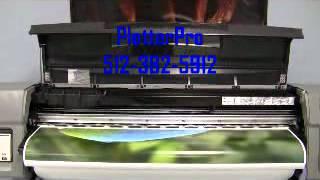 """HP Designjet 5500PS 42"""" wide/larger format banner/ Vinyl/Photo Paper prinhter/plotter demonstration"""