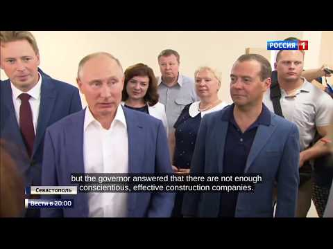 Putin and Medvedev Visit New School and Appartment Block Built For 2000 Army Personnel in Sevastopol
