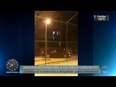 Criminosos forçam família a descer de carro e atropelam motorista | SBT Brasil (06/07/18)