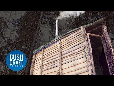 Bushcraft Treehouse Shelter gets a DIY WOOD BURNING STOVE!