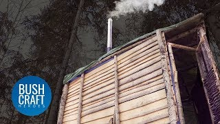 Bushcraft Treehouse Shelter gets a DIY WOOD BURNING STOVE!