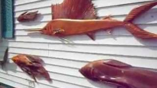 Woodcarving Wall Of Fish