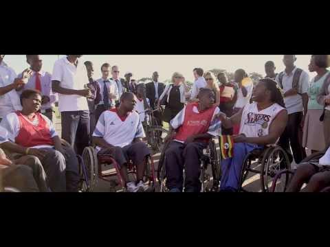 Ade Adepitan plays with the Ugandan wheelchair basketball team