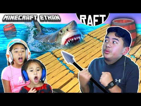 SHARK ATTACK!!! | RAFT Game play #1 w/ Minecraft Ethan, Emma & Aubrey