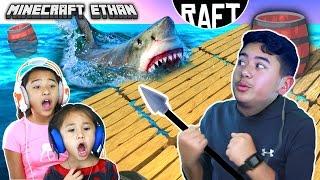 SHARK ATTACK!!! | RAFT Game play #1 w/ Minecraft Ethan, Emma & Aubrey