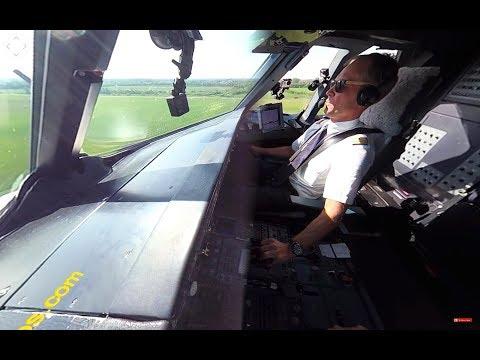 Lufthansa A320 360-Dregree-Cam COCKPIT Landing! TOP Crew & Stefan's BUTTER LANDING! [AirClips360]