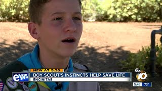 Boy Scout's instincts help save life