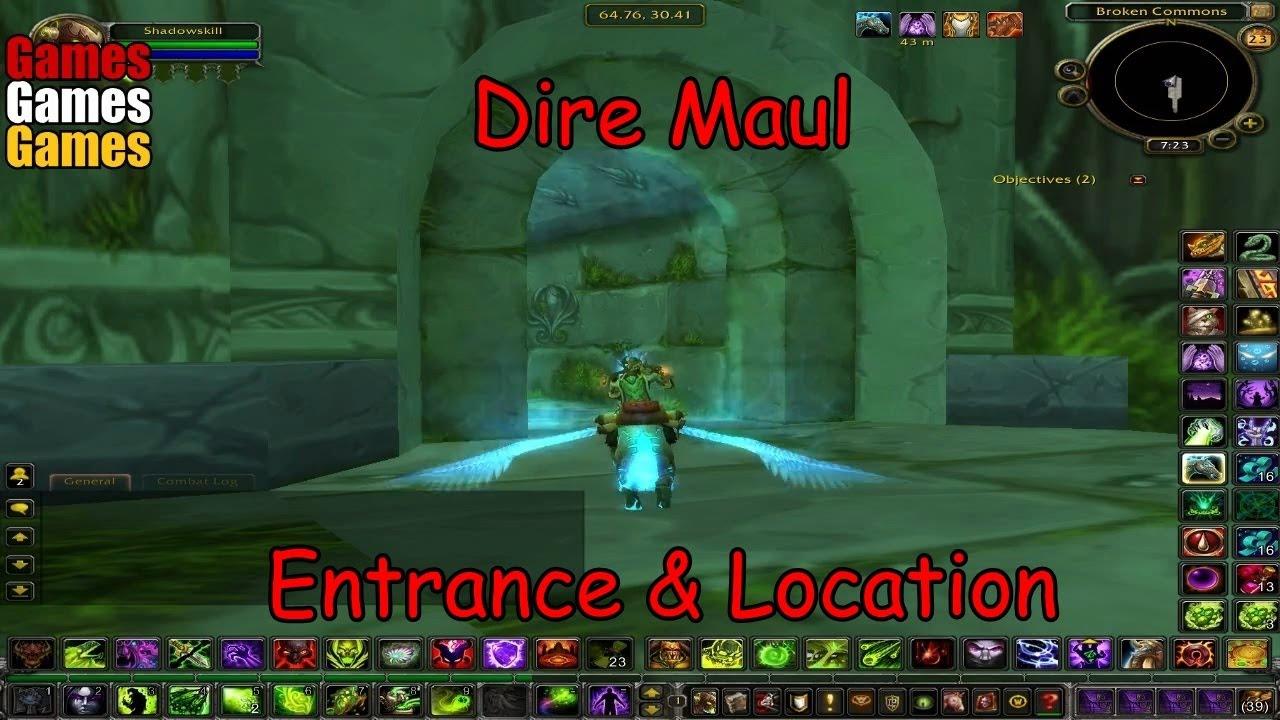 dire maul entrance location world of warcraft original dungeons youtube. Black Bedroom Furniture Sets. Home Design Ideas