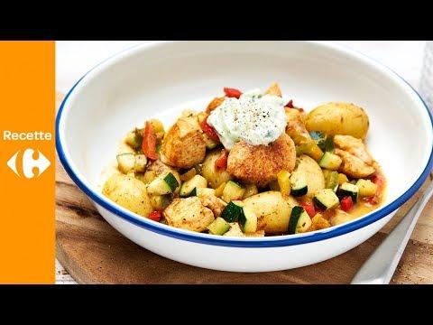 poêlée-grecque-au-poulet,-poivron-et-tzatziki-maison