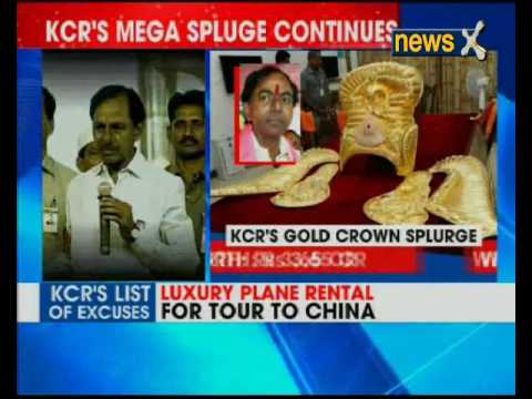Telangana CM Chandrasekhar Rao presents Rs 3.5-cr gold crown to temple