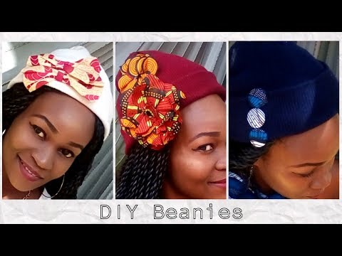 DIY 4-Custom BEANIES with African Print +4 WAYS to wear a beanie