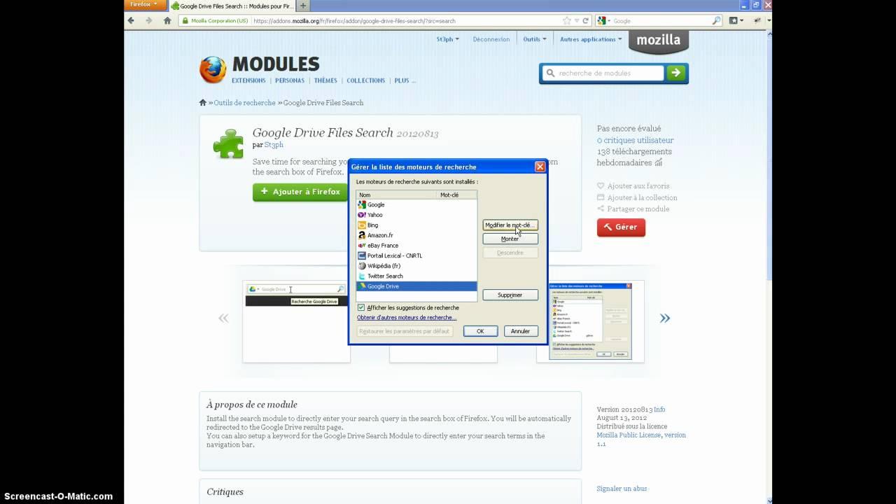 Google Drive Files Search, Firefox Addon