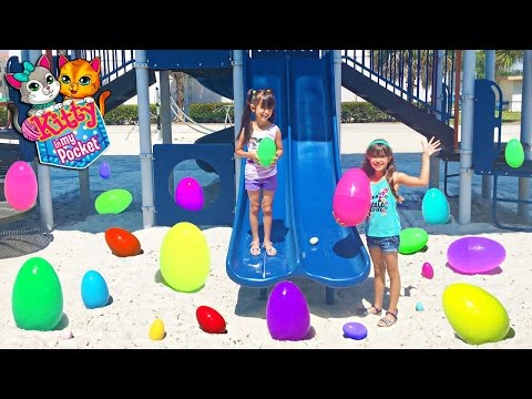 GIANT PLAYGROUND SURPRISE EGG HUNT Kitty In My Pocket Hidden Surprise Toys Opening