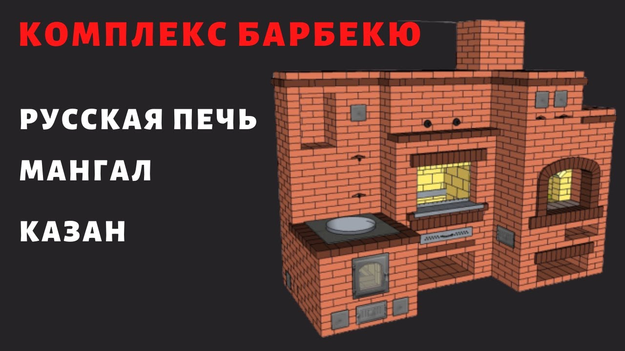 Печной комплекс с Русской  печью, мангалом и казаном.  Обзор.