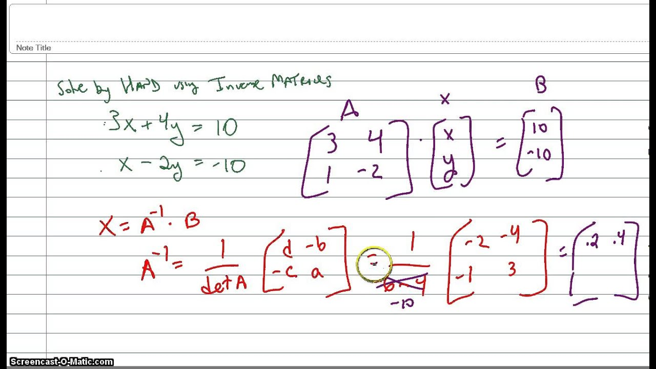 Solving A System Of Two Equations Using Inverse Matrices
